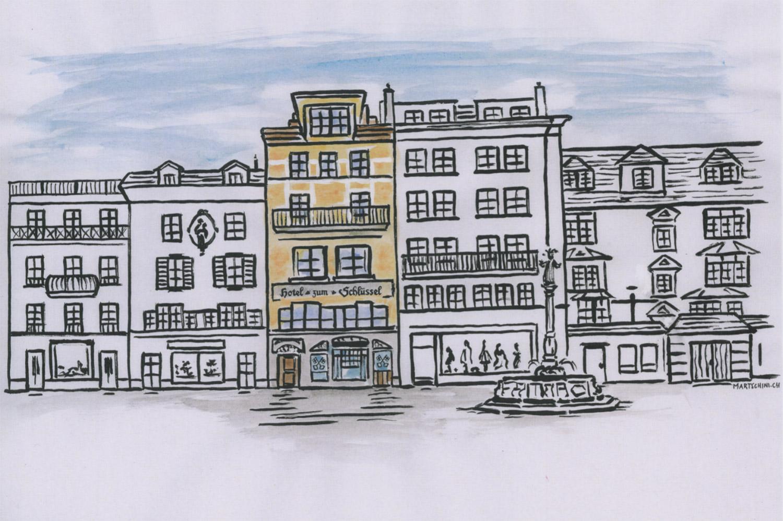 Zeichnung Hotel Schlüssel Luzern
